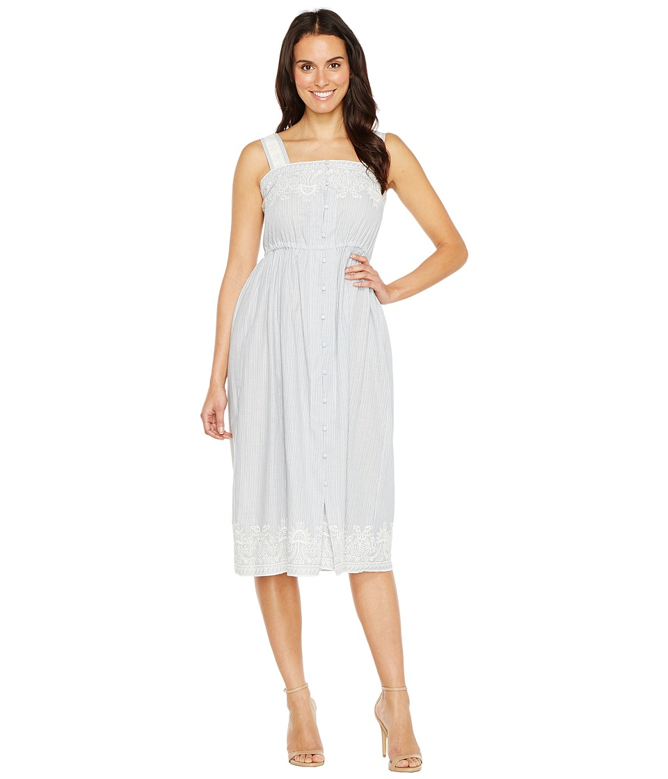 Sangria - Square Neck Crochet Detail Midi (Powder Blue) Women's Dress