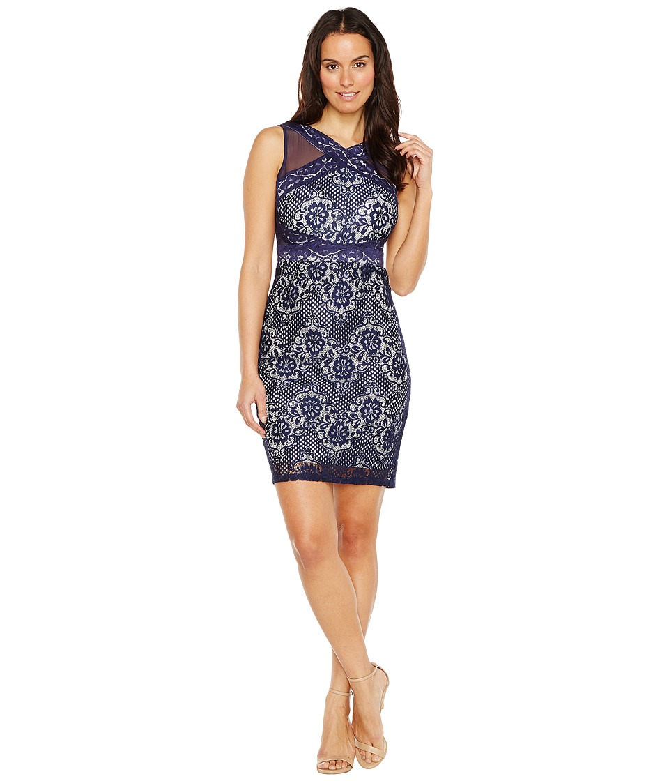 Sangria - Mesh and Lace Combo Sheath (Navy/Ivory) Women's Dress
