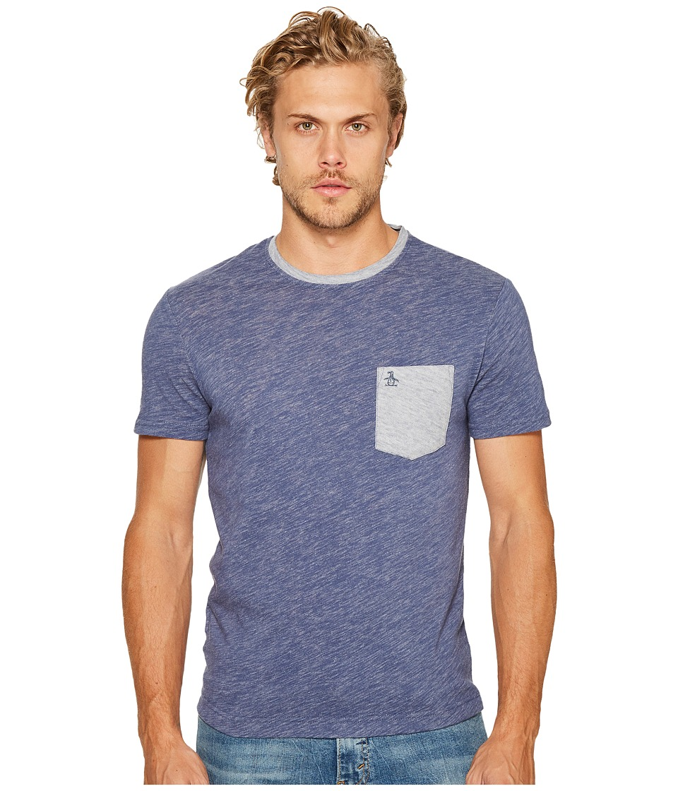 Original Penguin - Short Sleeve Plaited Slub Pocket Tee (Vintage Indigo) Men's T Shirt