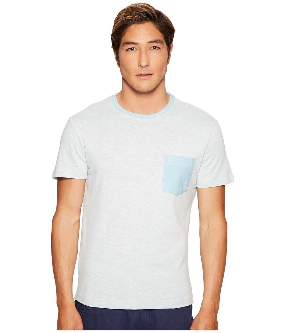 Original Penguin - Short Sleeve Plaited Slub Pocket Tee (Blue Glow) Men's T Shirt