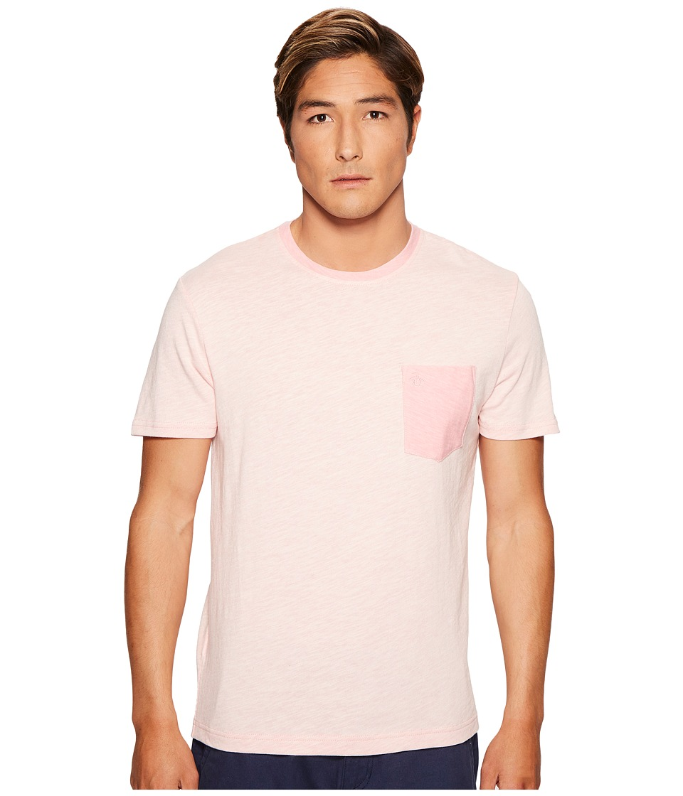 Original Penguin - Short Sleeve Plaited Slub Pocket Tee (Pink Icing) Men's T Shirt