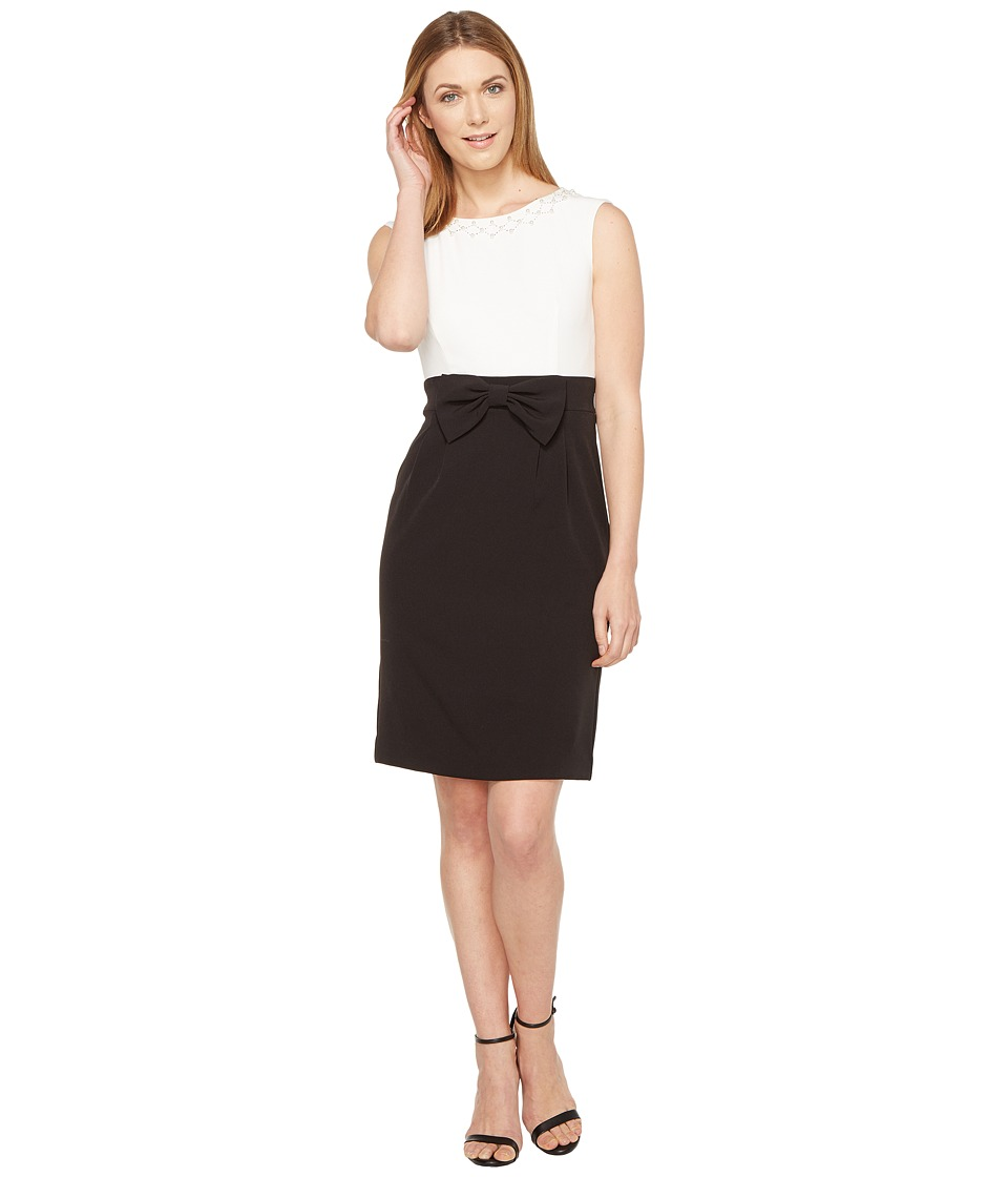 Tahari by ASL Crepe Color Block Dress (Black/White) Women