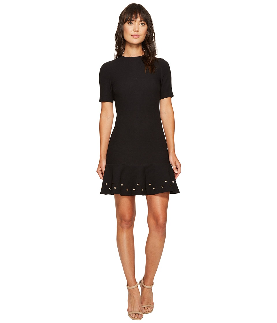 Tahari by ASL Knit Dress with Flounce Hem and Grommets (Black) Women
