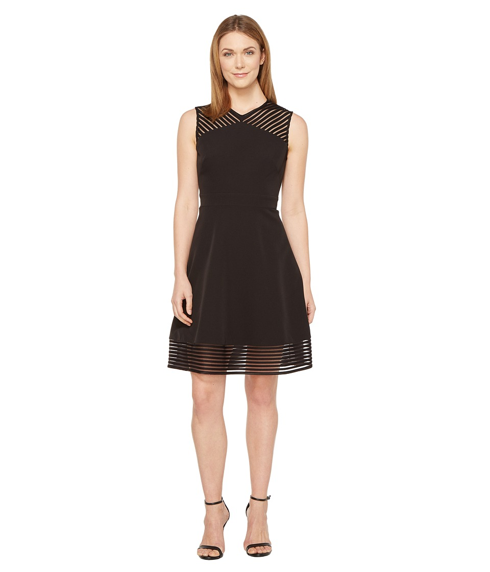 Tahari by ASL - Mesh Tape Fit-and-Flare Dress (Black) Women's Dress