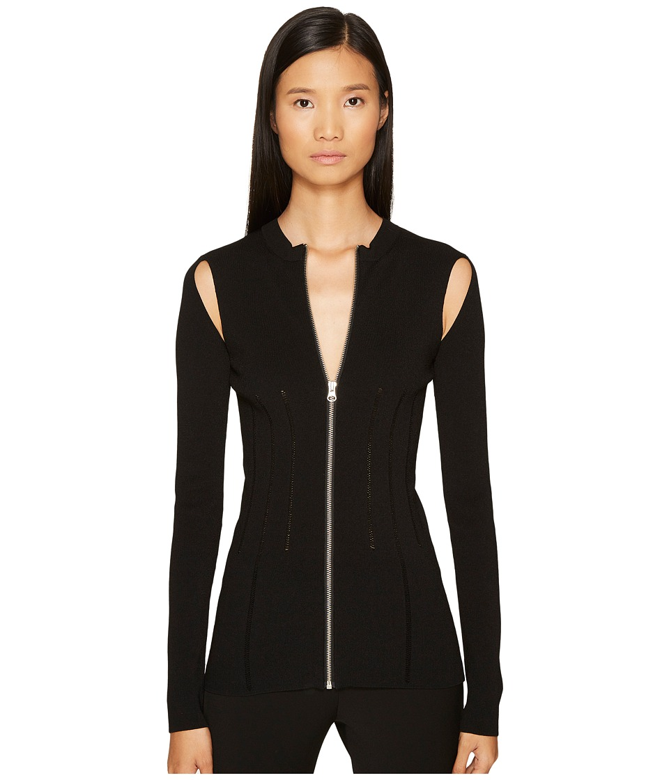 McQ - Body Block Sleeve Zip Top (Darkest Black) Women's Clothing