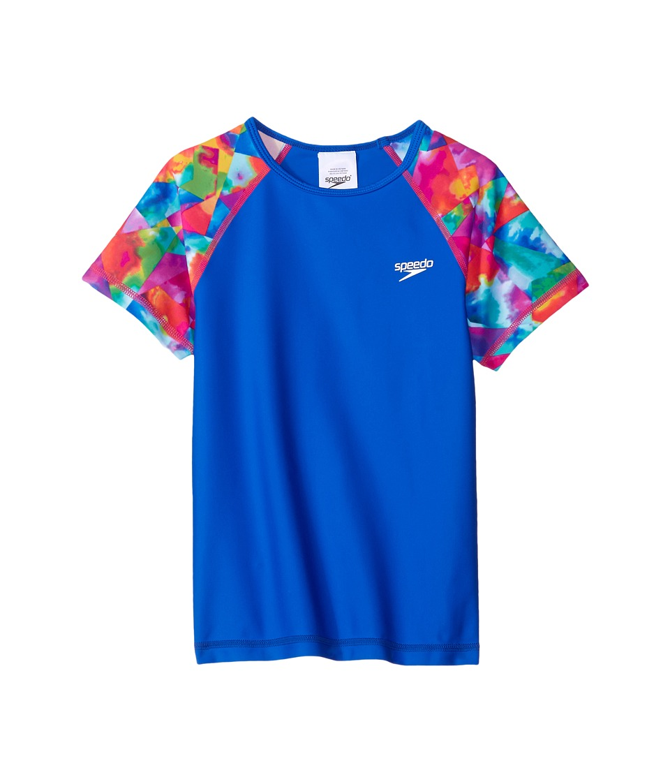 Speedo Kids - Printed Short Sleeve Rashguard (Little Kids/Big Kids) (Radiant Blue) Girl's Swimwear