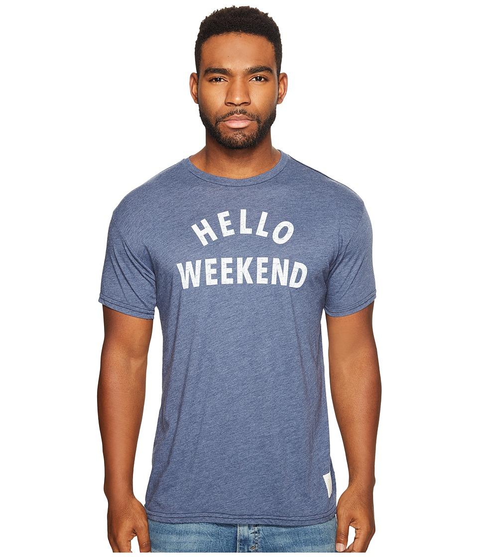 The Original Retro Brand - Hello Weekend Short Sleeve Heather T-Shirt (Heather Navy) Men's T Shirt