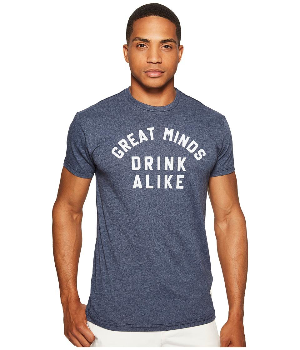 The Original Retro Brand - Great Minds Drink Alike Heathered Short Sleeve T-Shirt (Heather Navy) Men's T Shirt