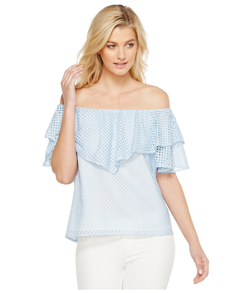 HEATHER - Tia Trellis Lace Ruffle Off the Shoulder Top (Blue Cloud) Women's Clothing