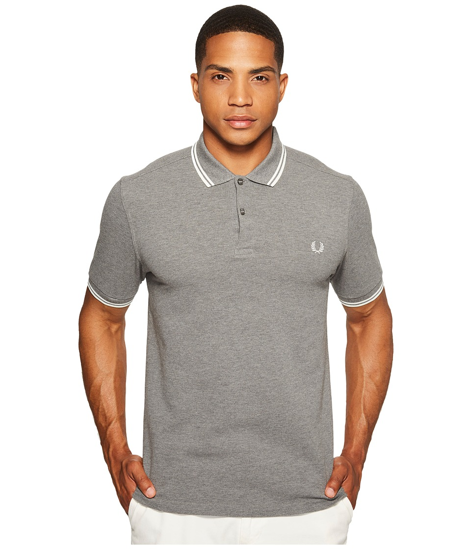 Fred Perry - Twin Tipped Shirt (Grey Marl/Snow White) Men's Short Sleeve Knit