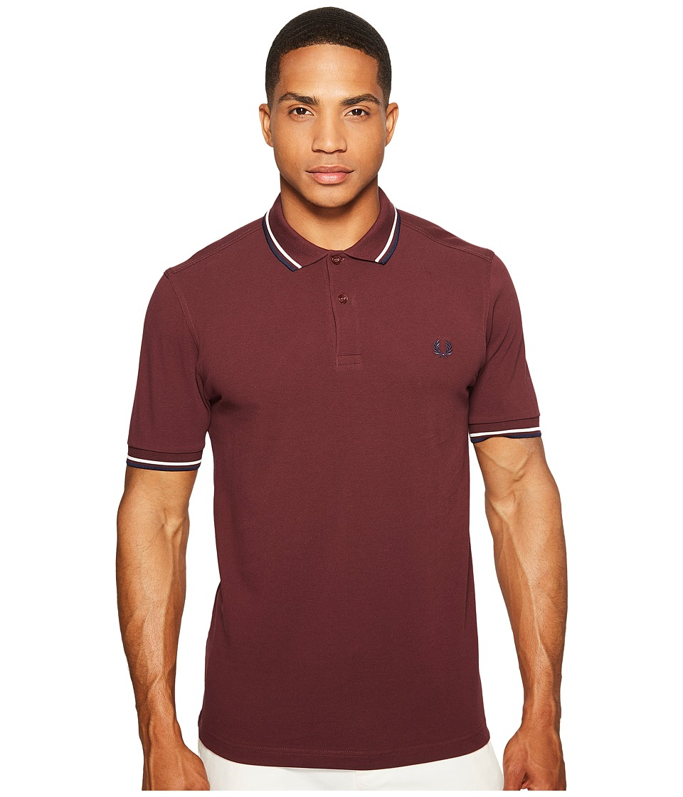 Fred Perry - Twin Tipped Shirt (Maogany/Snow White/Carbon Blue) Men's Short Sleeve Knit