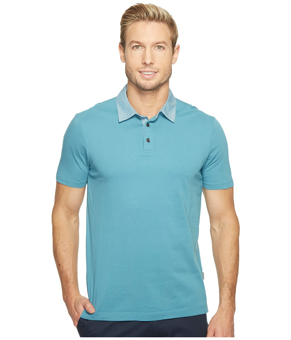 Perry Ellis - Pima Chambray Polo Shirt (Storm Blue) Men's Clothing