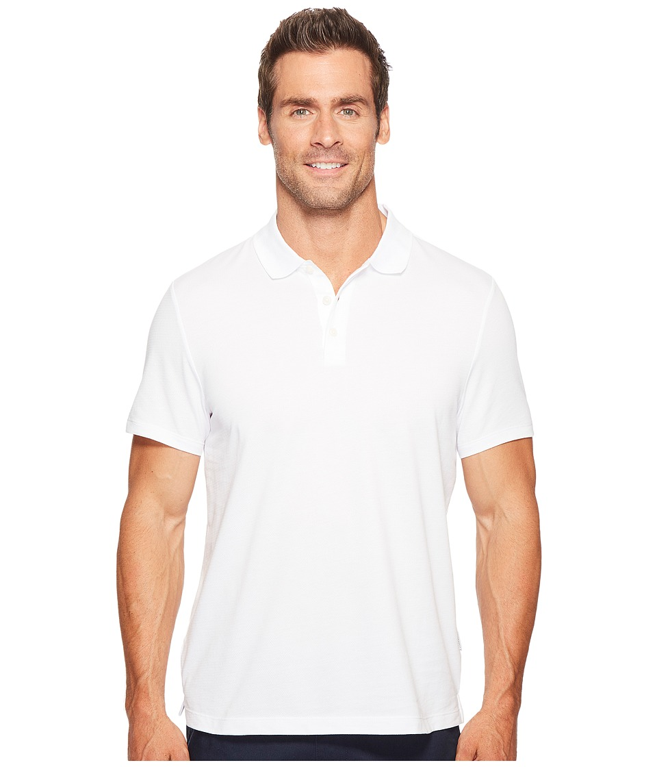 Perry Ellis - Geometric Herringbone Pattern Three-Button Polo Shirt (Bright White) Men's Clothing