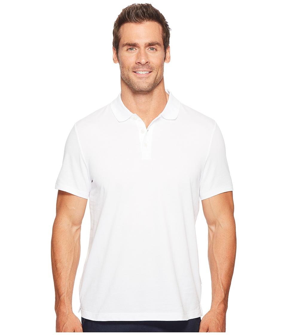 Perry Ellis - Geometric Herringbone Pattern Three-Button Polo Shirt (Bright White) Men's Clothing