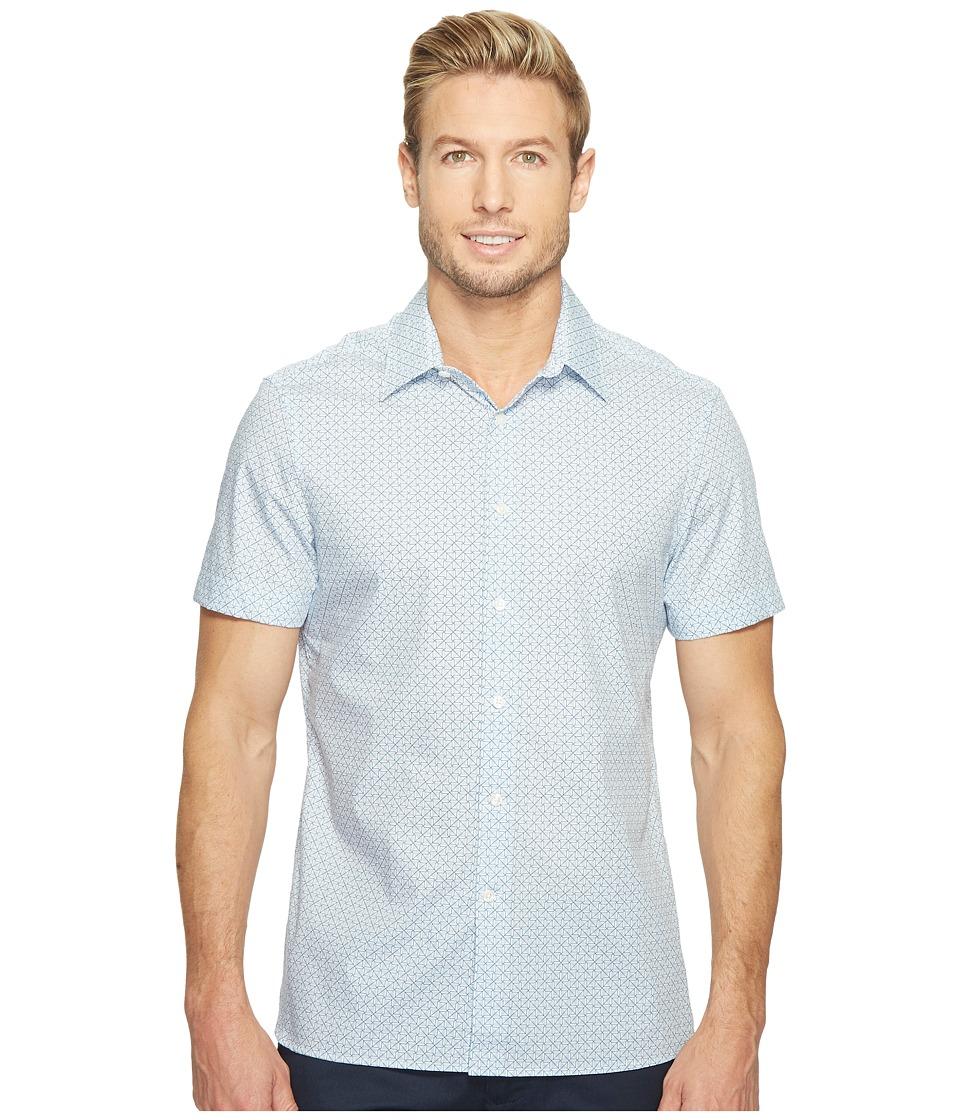 Perry Ellis - Short Sleeve Graphic Linear Print Shirt (Kentucky Blue) Men's Clothing