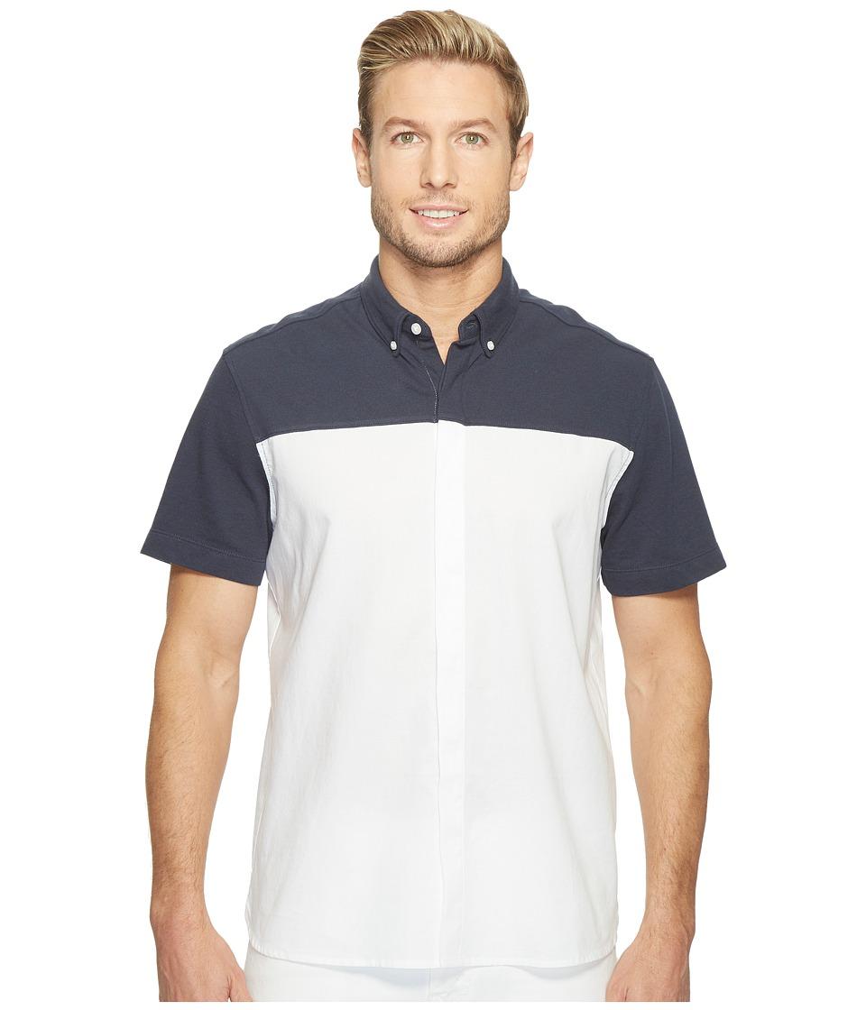 Perry Ellis - Short Sleeve Color Block Shirt (Eclipse) Men's Clothing