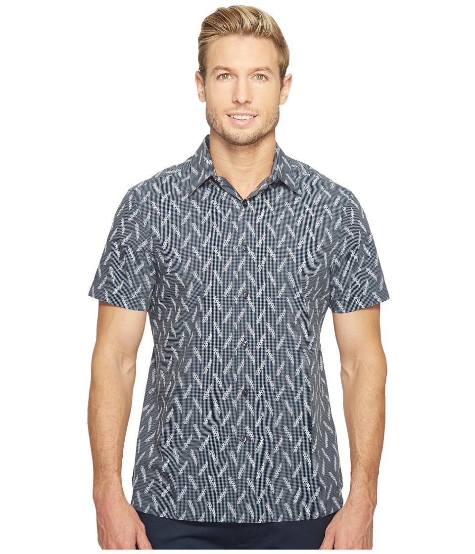 Perry Ellis Short Sleeve Print on Print Shirt (Dark Sapphire) Men