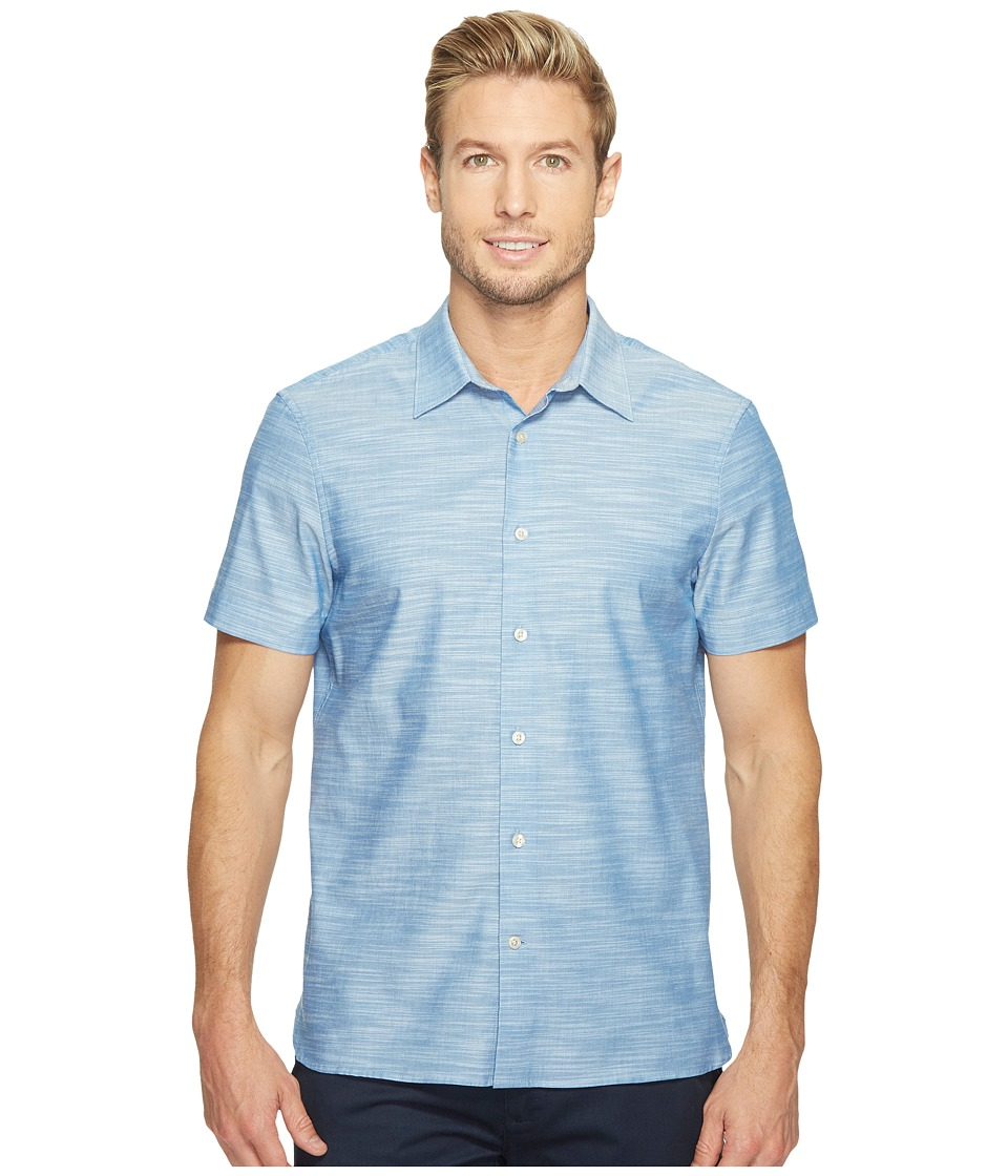 Perry Ellis - Short Sleeve Solid Slub Texture Shirt (Classic Blue) Men's Clothing