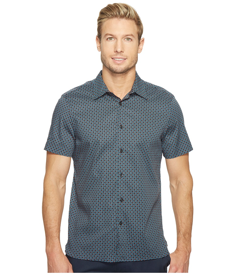 Perry Ellis - Short Sleeve Modern Geo Print Shirt (Aegean Blue) Men's Clothing