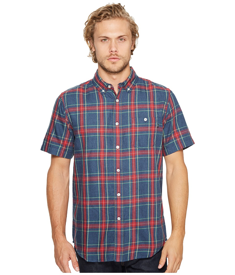 Obey - Pine Woven Short Sleeve Woven Shirt (Heather Navy Multi) Men's Short Sleeve Pullover