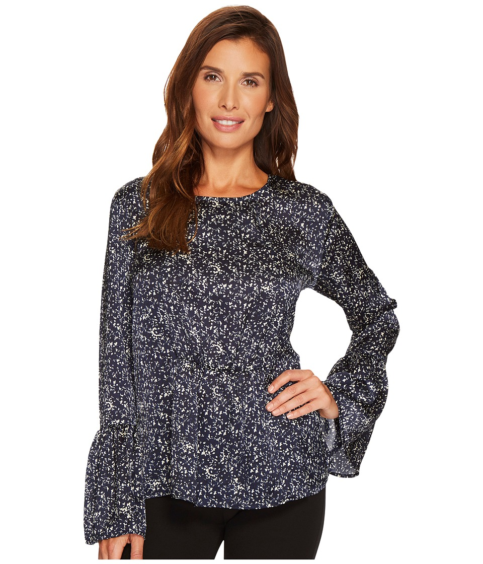 B Collection by Bobeau Lee Flare Sleeve Blouse (Navy Star) Women