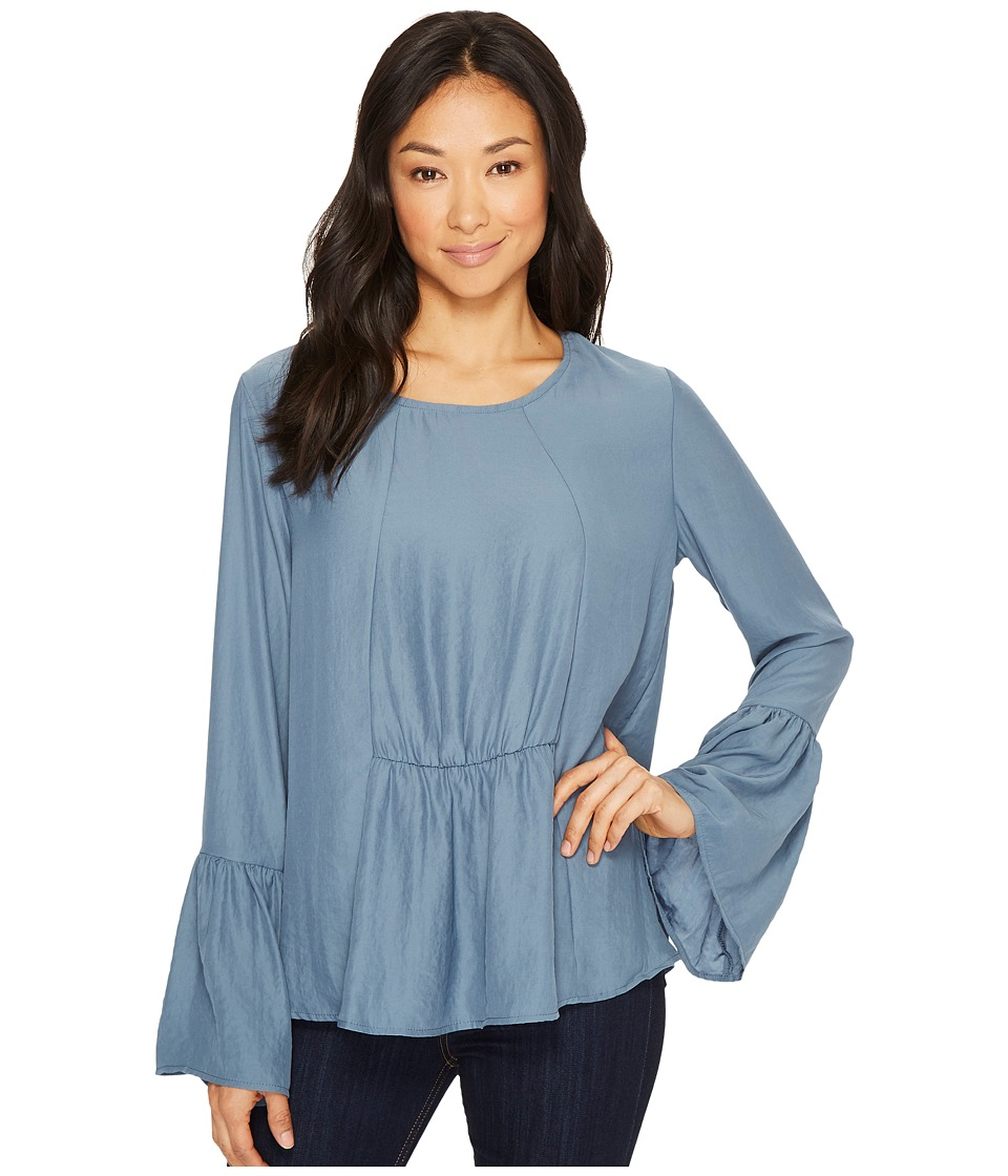 B Collection by Bobeau Lee Flare Sleeve Blouse (Blue/Grey) Women