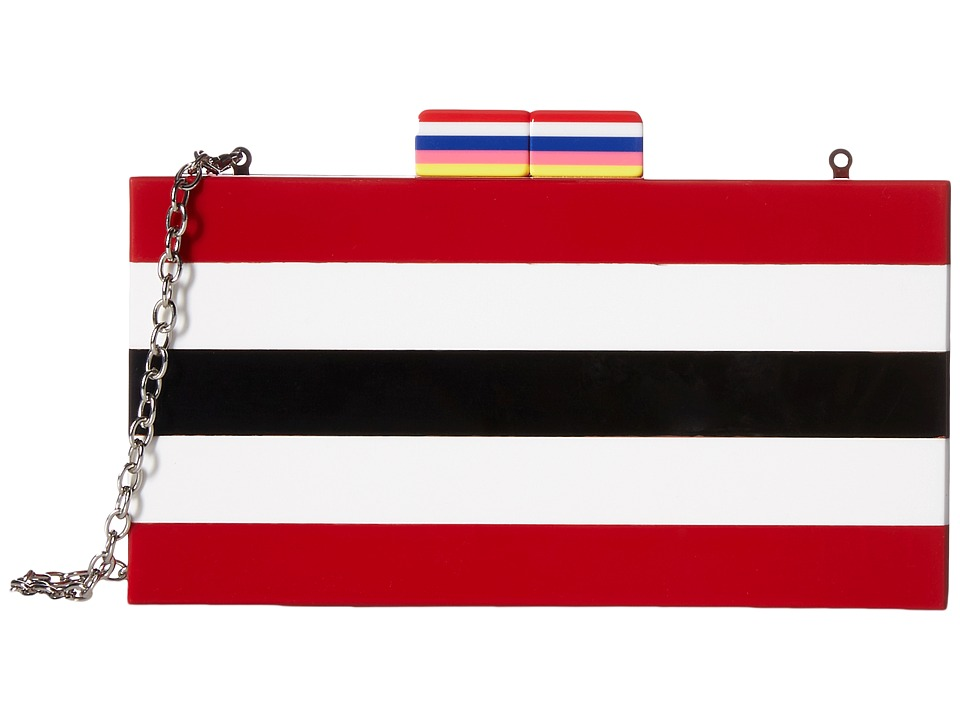 Circus by Sam Edelman - Striped Box Clutch (Black White Red/Multi Colored) Wallet