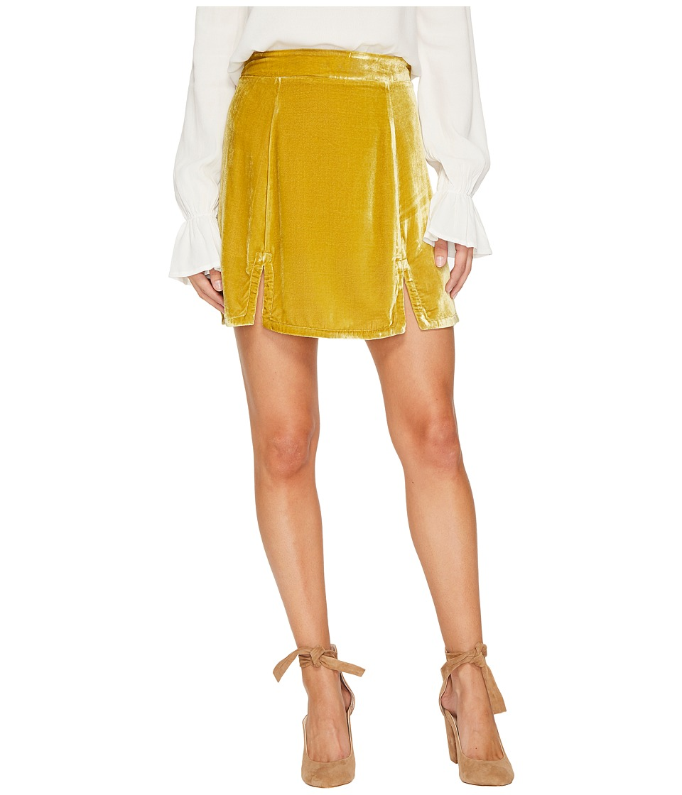 For Love and Lemons Beatrix Velvet Skirt (Chartreuse) Women