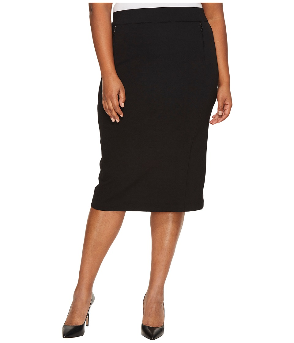 B Collection by Bobeau Plus Size Ollie Ponte Pencil Skirt (Black) Women
