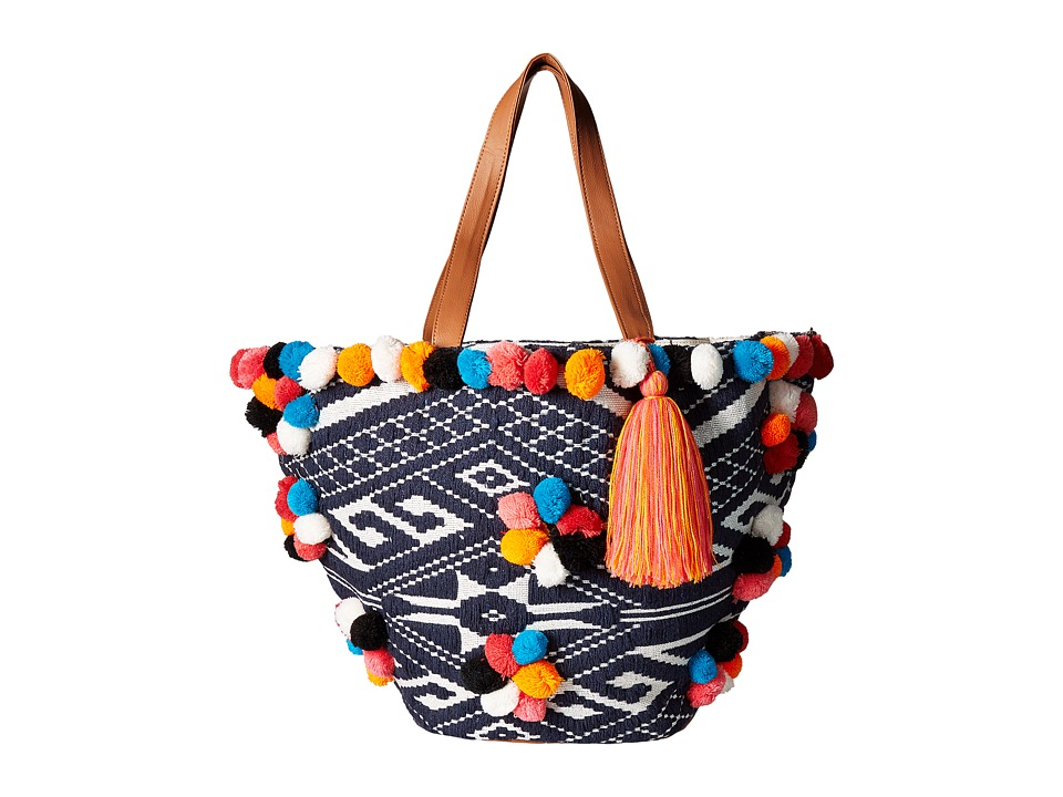 Circus by Sam Edelman - Navajo Tote w/ Pom Poms (Navy White/Multicolor/Pink/Orange) Handbags