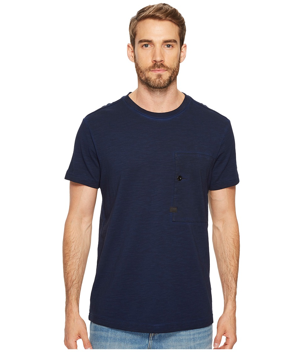 G-Star - Stalt Relaxed Round Tee Short Sleeve (Dark Naval Blue/Black Overdye) Men's T Shirt