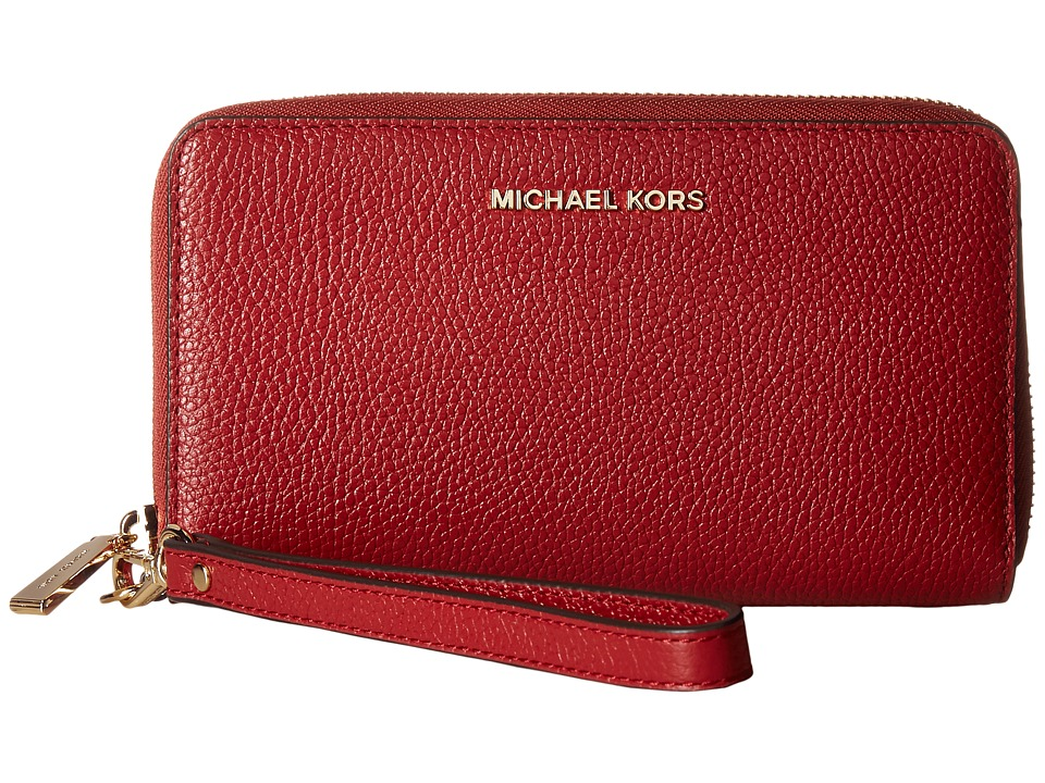 MICHAEL Michael Kors - Mercer Large Flat Multifunction Phone Case (Burnt Red) Cell Phone Case
