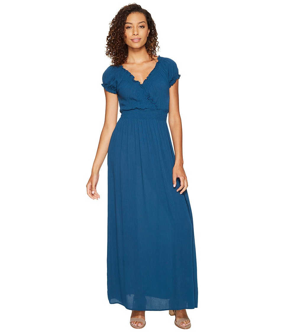 ROMEO & JULIET COUTURE - Short Sleeve Sold Color Maxi Dress (Legion Blue) Women's Dress