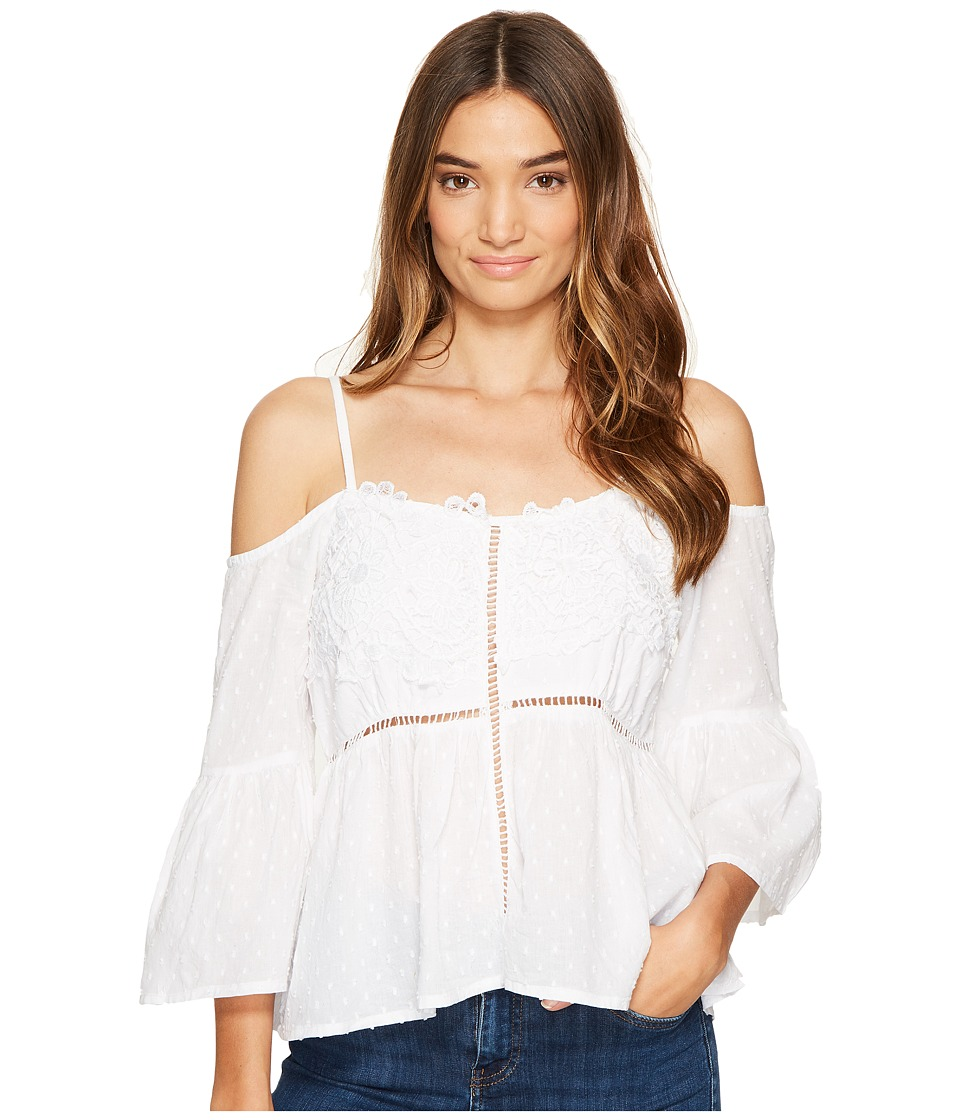 ROMEO & JULIET COUTURE - Off Shoulder Strap Top with Lace Front (Ivory) Women's Clothing