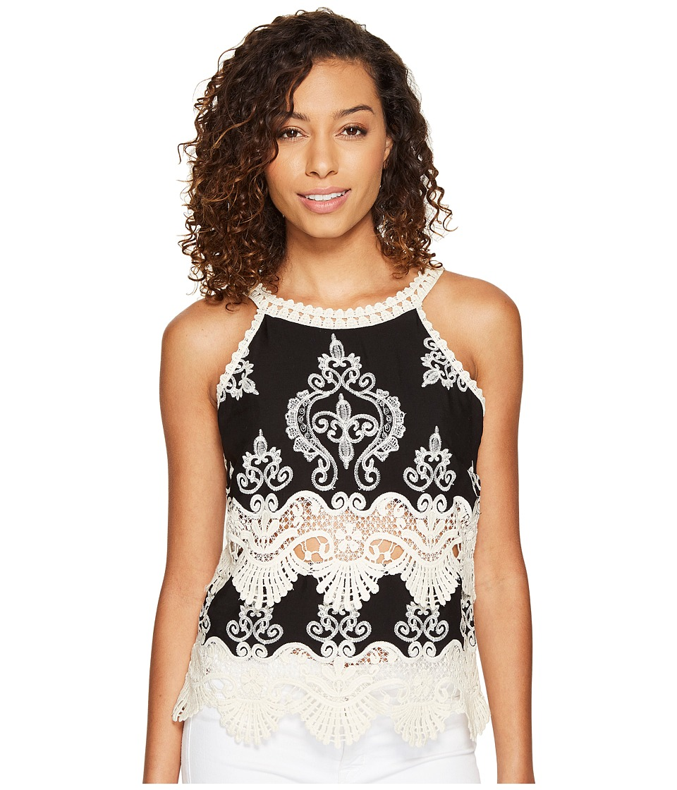 ROMEO & JULIET COUTURE - Sleeveless Lace Neck and Trim Top (Black/White) Women's Sleeveless