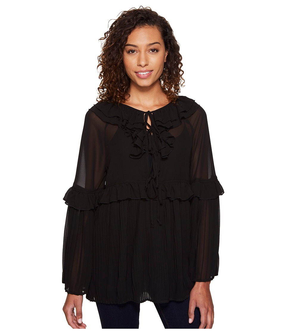 ROMEO & JULIET COUTURE - Pleated Woven Top (Black) Women's Clothing