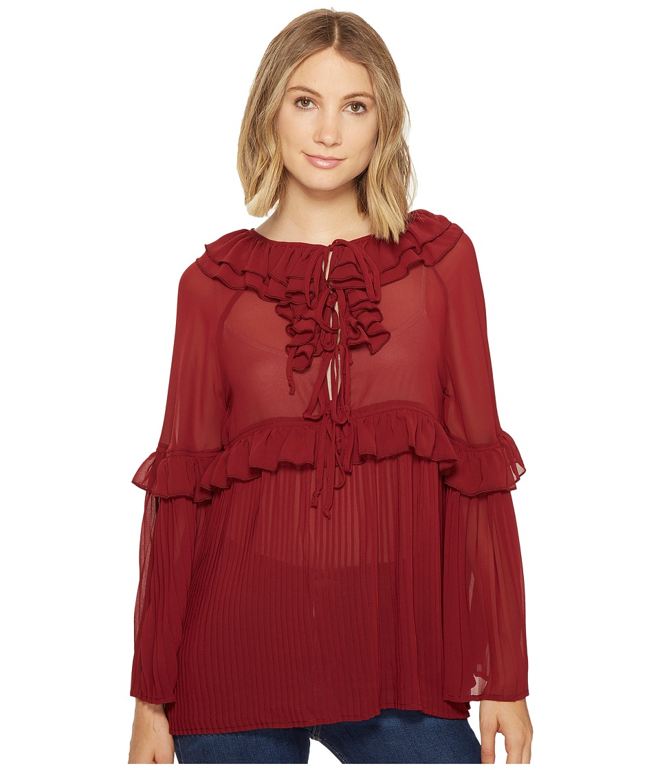 ROMEO & JULIET COUTURE - Pleated Woven Top (Burgundy) Women's Clothing