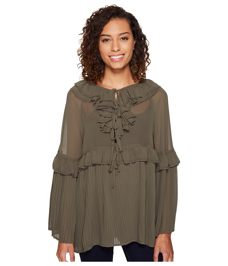 ROMEO & JULIET COUTURE - Pleated Woven Top (Olive) Women's Clothing