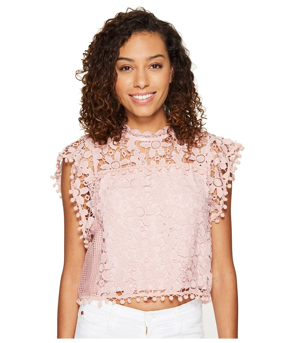 ROMEO & JULIET COUTURE - Butterfly Sleeve Lace Top (Dusty Pink) Women's Clothing