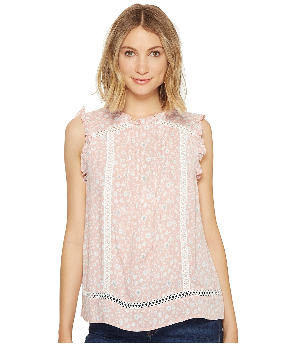 ROMEO & JULIET COUTURE - Mock Neck Floral Print Top (Blush Combo) Women's Clothing
