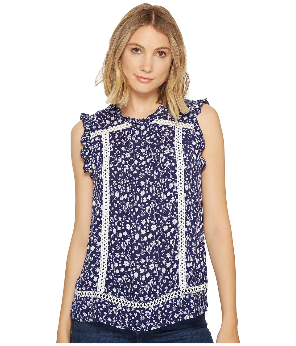 ROMEO & JULIET COUTURE - Mock Neck Floral Print Top (Navy Combo) Women's Clothing