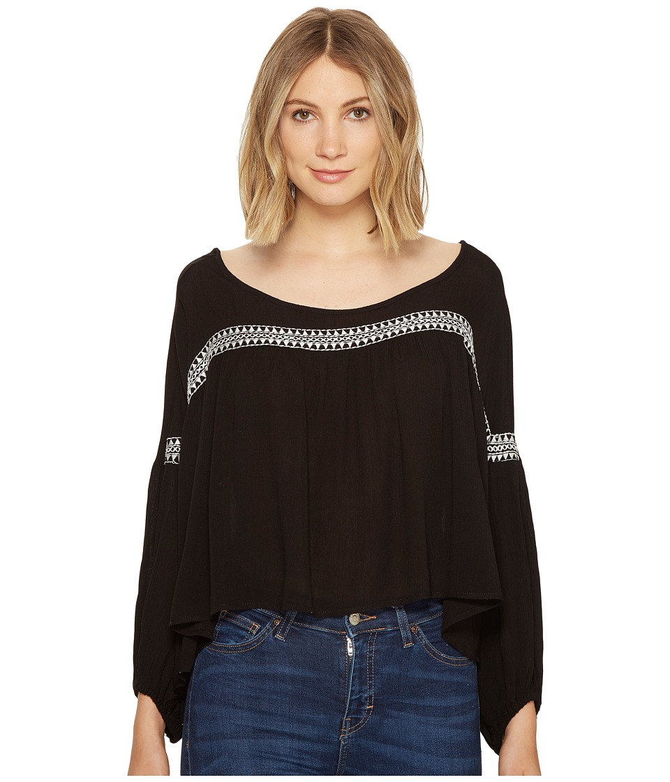 ROMEO & JULIET COUTURE - Smocking Thread Top (Black) Women's Clothing