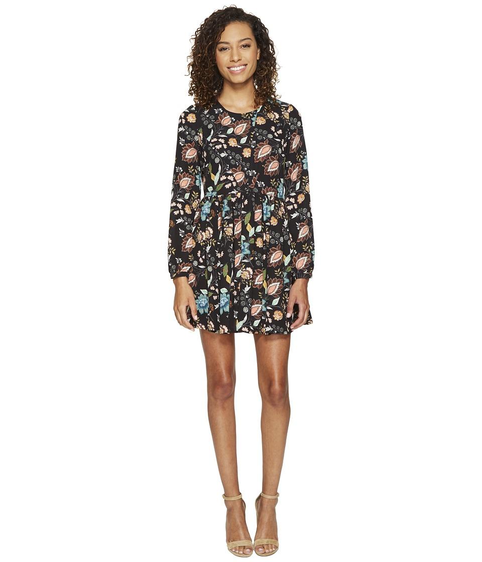 ROMEO & JULIET COUTURE - Floral Woven Printed Dress (Black) Women's Dress