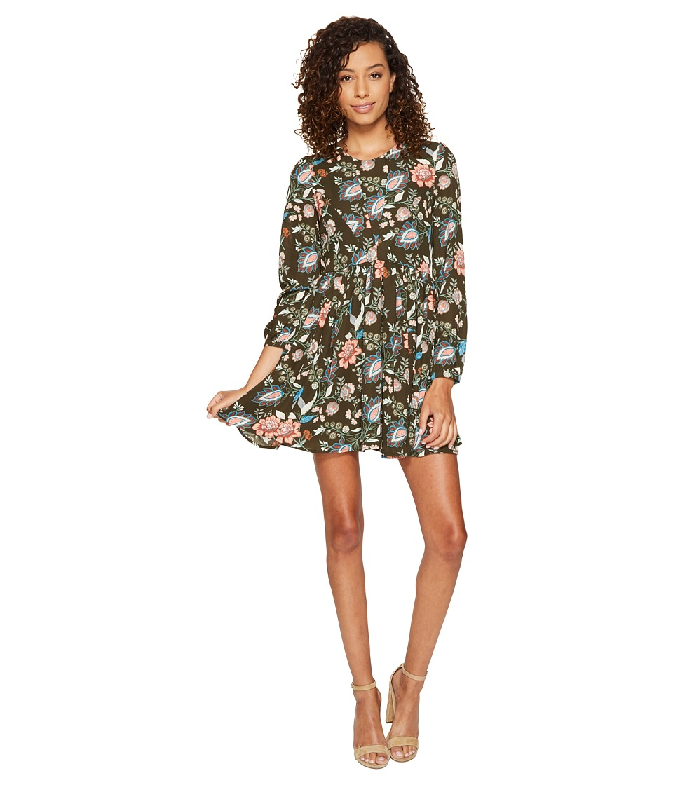 ROMEO & JULIET COUTURE - Floral Woven Printed Dress (Olive) Women's Dress
