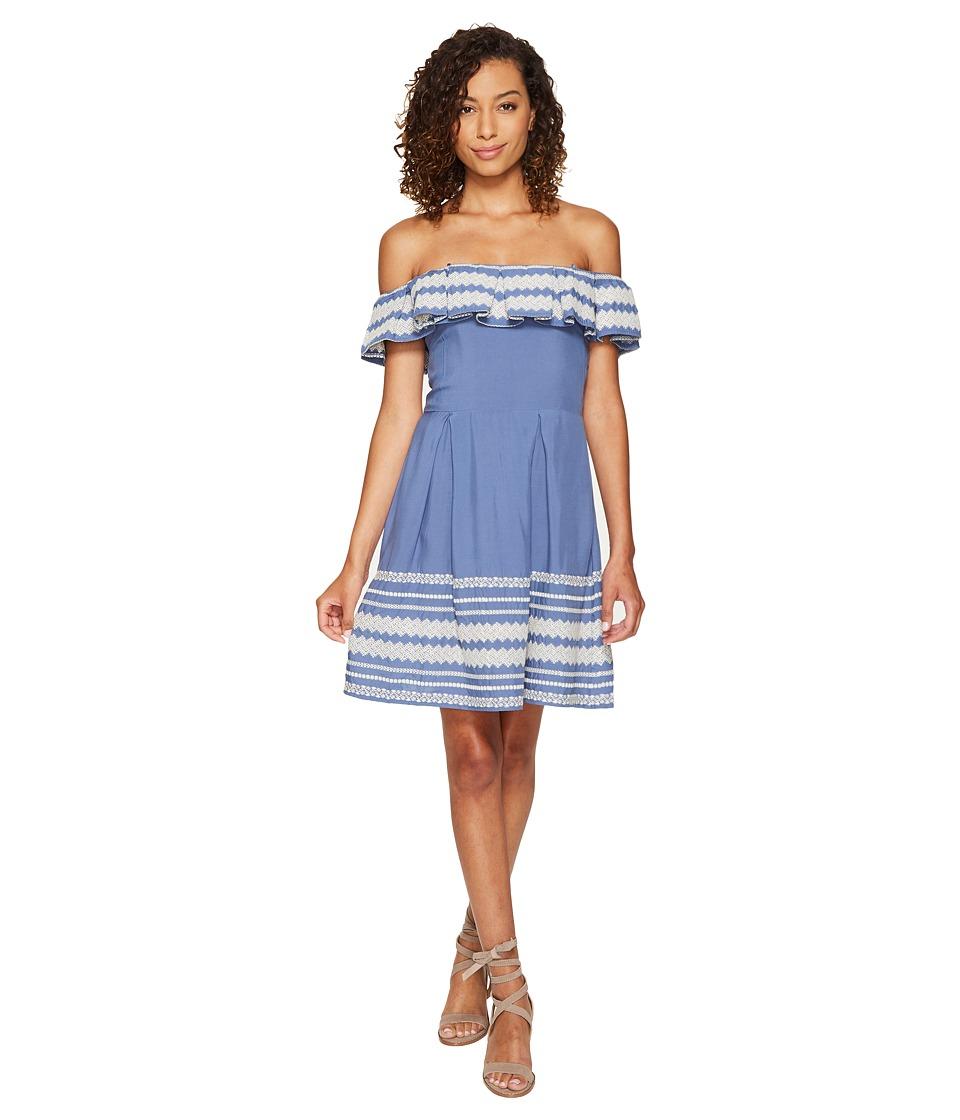 ROMEO & JULIET COUTURE - Off Shoulder Bottom Hem Embroidered Dress (Denim Blue) Women's Dress