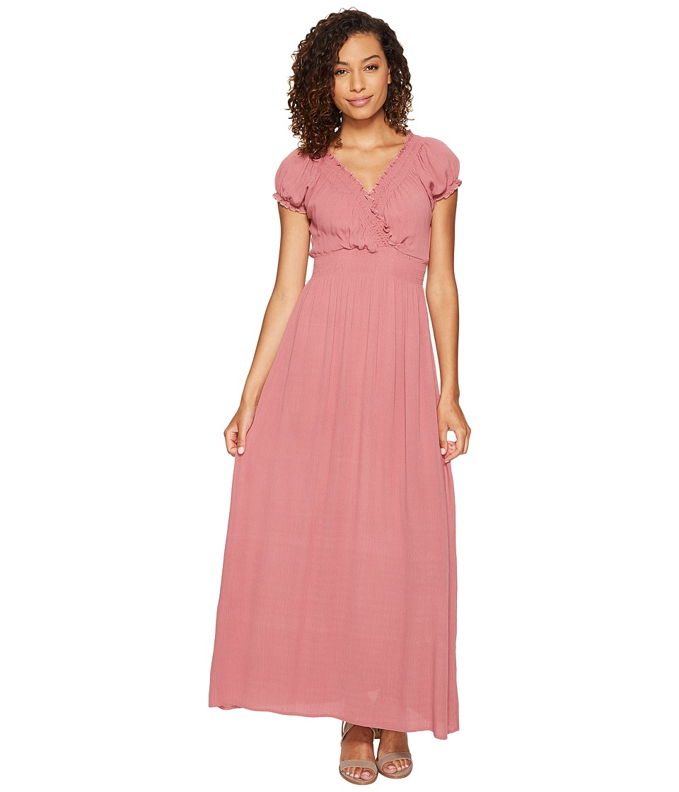ROMEO & JULIET COUTURE - Short Sleeve Sold Color Maxi Dress (Dusty Rose) Women's Dress