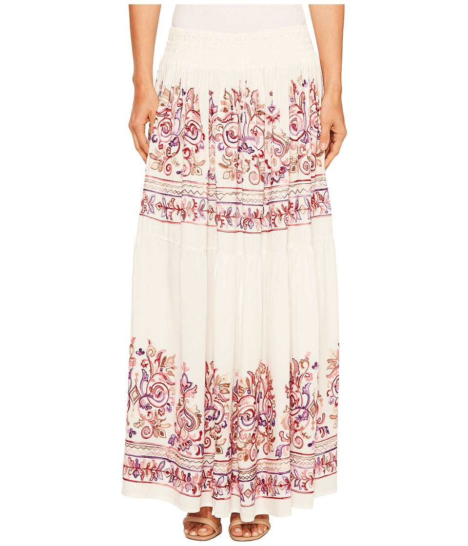 ROMEO & JULIET COUTURE - Embroidery Viscose Woven Maxi Skirt (White Multi) Women's Skirt
