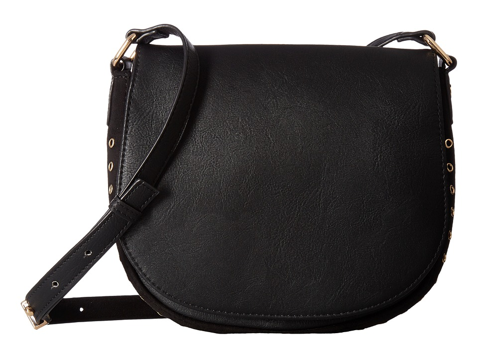 Deux Lux - Patina Saddle Bag (Black) Shoulder Handbags