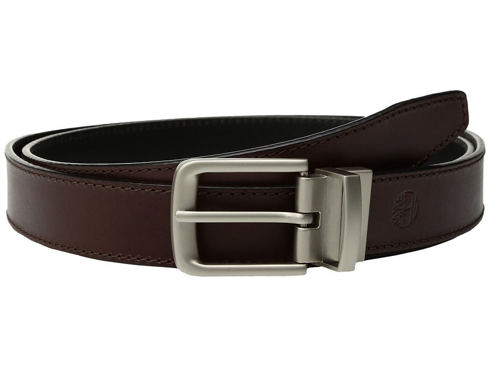 Timberland - Classic Leather Reversible Belt (Brown/Black) Men's Belts