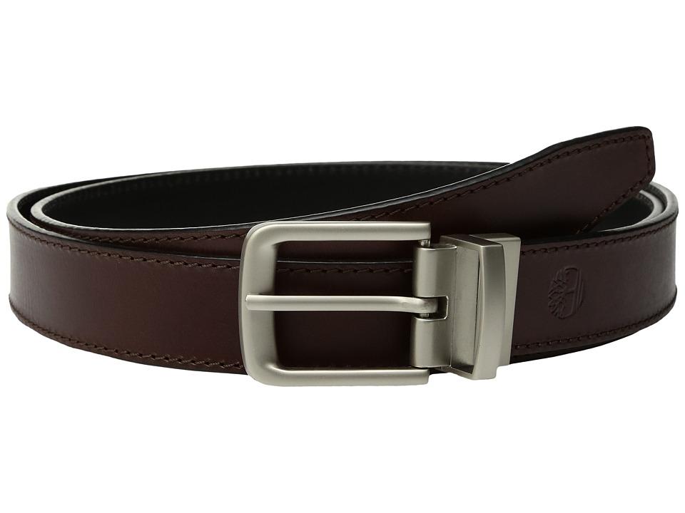 Timberland - Classic Leather Reversible Belt (Brown/Black) Men's Belts